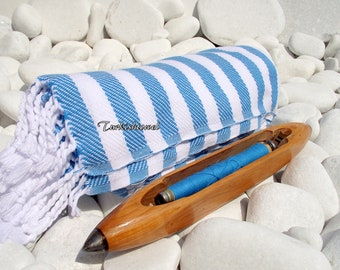Turkishtowel-Soft-Highest Quality Pure Organic Cotton,Hand Woven,Bath,Beach,Spa,Yoga,Travel Towel or Sarong-Turquoise and White  Stripes