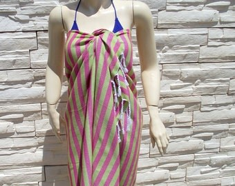 Turkishtowel-Soft-Highest Quality Pure Organic Cotton,Hand Woven,Cotton Bath,Beach Towel or Sarong-Fuchsia and Lime Green  Stripes