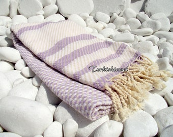 Turkishtowel-Highest Quality Pure Organic Cotton,Hand Woven,Bath,Beach,Spa,Yoga Towel or Sarong-Mathing-Natural Cream and Pale Wisteria