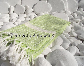 Turkishtowel-Highest Quality Pure Organic Cotton,Hand Woven,Bath,Beach,Spa,Yoga Towel or Sarong-Mathing-Natural Cream and Lime Green