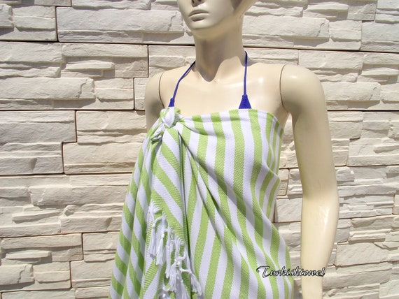 Turkishtowel-Soft-Highest QualityPure Organic Cotton,Hand Woven,Bath,Beach,Spa,Yoga Towel or Sarong-Apple,Lime Green and White Stripes
