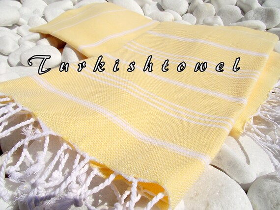 Turkishtowel-Set of 2-High Quality,Pure Cotton,Hand,Head,Tea,Dish,Baby Towel or Unisex Neck Warmer-White Stripes on Yellow