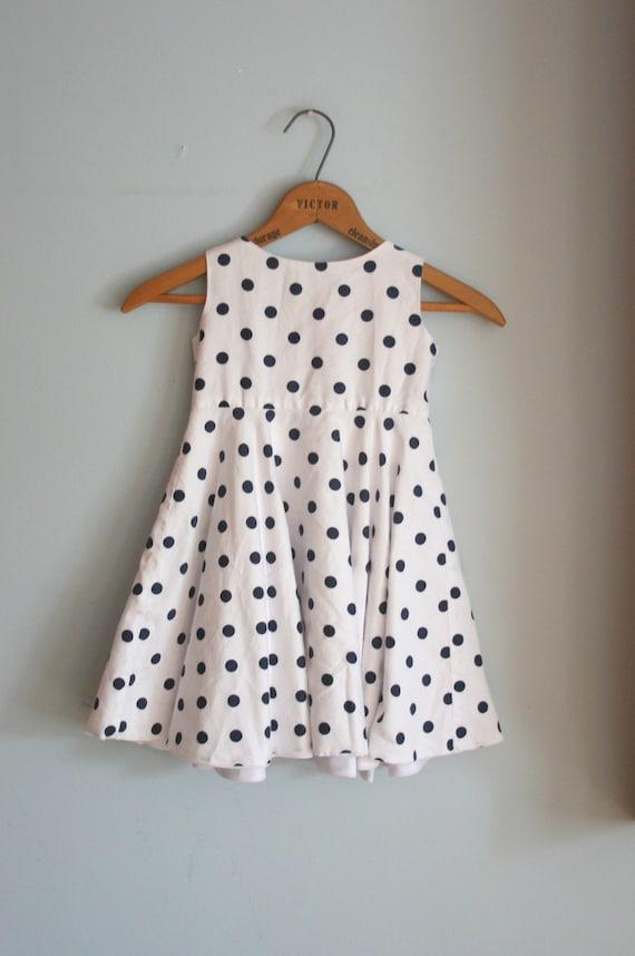 Vintage POLKA DOTS Girls Dress....size 4 girls...kids. children. polka dots. sailor. navy. nautical. preppy. fancy. party dress