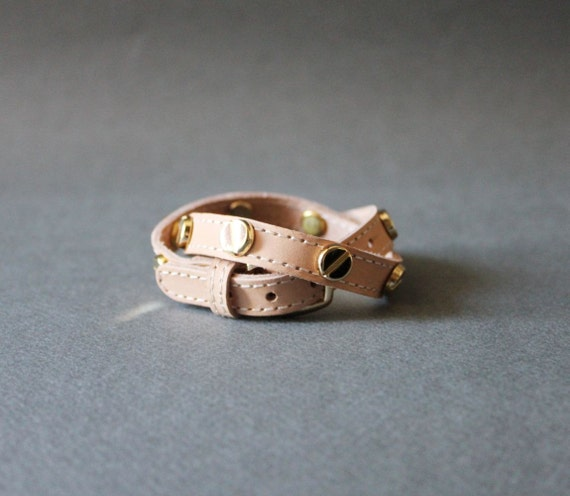 Screw Stud Ornament Leather Bracelet(Nude & Gold Stud)