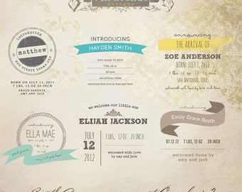 INSTANT DOWNLOAD - Birth Announcement Words Overlays vol.2