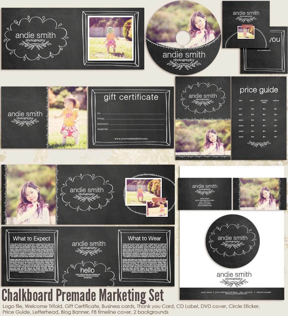 free photography marketing templates - chalkboard premade photography marketing set templates
