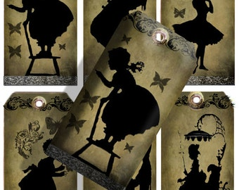 discount Sale Printable Vintage Victorian Silhouette Tags Instant download collage sheet