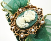 Velvet Green, Gold, Cameo, Cabochon Headband, Fascinator with Cream Portrait, Dark Green Sheer Bow, and Gold Lace, One of a Kind