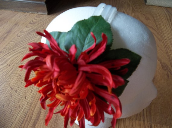 Wild Red and Orange Flower Headband or Hair Clip