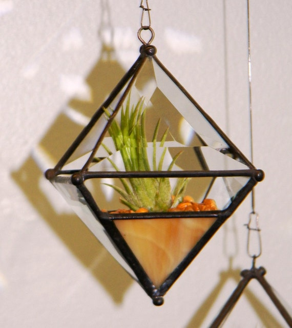 Pyramid Orb Air Plant Planter with Amber Accent.