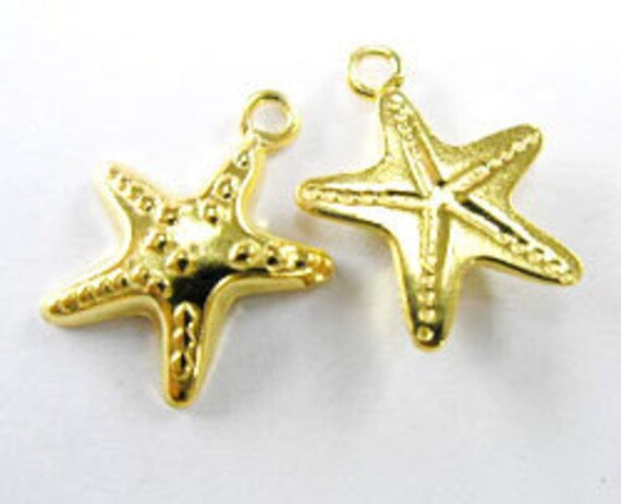 2 of 24k Vermeil Style Starfish Charms 13.5 mm. :vm0216
