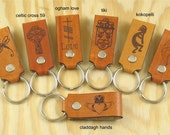 CUSTOM ENGRAVED Leather Keychains, Personalized with your Name, Monogram, etc - Qty of 1
