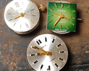 Set of 3 Vintage watch movement, watch parts, watch faces, cases (MS)