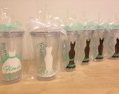 Quantity 6 Bridal Party gift Personalized acrylic tumbler w/ lid and straw, Bride, Bridesmaid dress design, 16 or 20 oz, or other styles