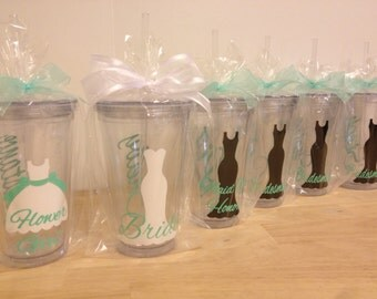 Quantity 6 Bridal Party gift Personalized acrylic tumbler w/ lid and straw, Bride, Bridesmaid dress design, 16 or 32 oz, other styles/sizes