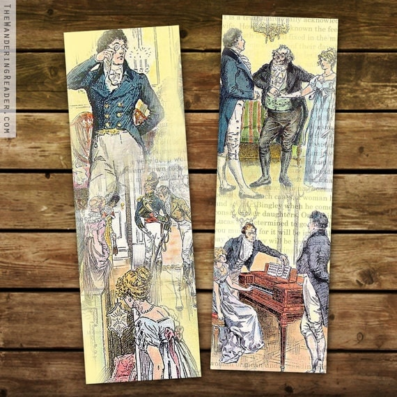 Pride and Prejudice Literary Bookmark Set Featuring Vintage Illustrations of Darcy and Elizabeth