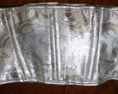 """S/M Silver Victorian Print Fabric Corset belt w/ silver eyelets Artifice Clothing steel boning 24"""" wide"""