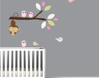 Wall Decals Vinyl Stickers-Branch with Monkey