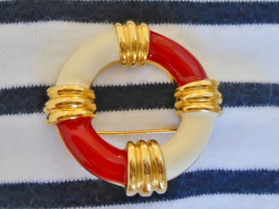 Red White Gold Enamel Life Buoy Brooch Pin -- Excellent Condition - Never Worn