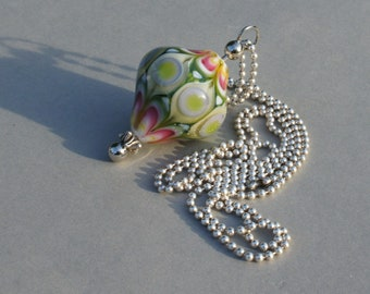 Handmade glass focal bead in green, pink, beige  and white by FlameJewels