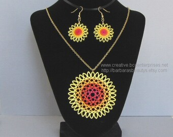 Quilling Necklace and Earrings, Sun