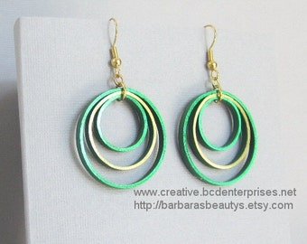 Quilling Earrings, Metallic Green and Gold on Green, Hoops