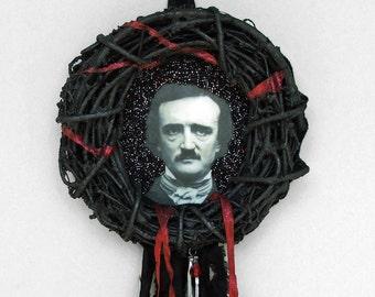Edgar Allan Poe Wreath - wreath art, black wreath, black and red, tattered, skeleton arm, blood drop, goth art, gothic, beaded wreath