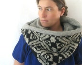 Wool Infinity Scarf Cowl - Fashion Snood - Black and Gray Fair Isle Motif - Unisex : Upcycled Recycled Repurposed