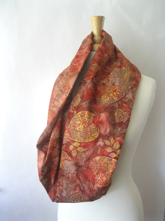Batik Infinity Scarf - Red Gold and Autumn Batik Stamp Printed Eclectic Scarf