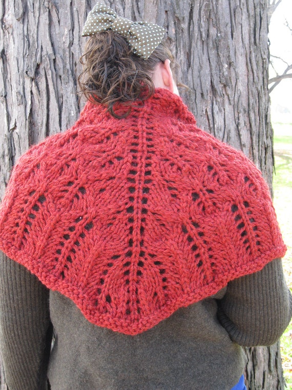 Handknit Lace Shawl - Chunky Rustic Leaf Lace in Bulky Red Lambswool : Handknit Knitted Knit Fall Fashion