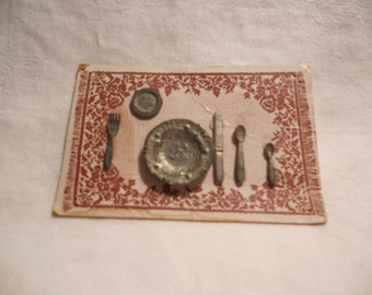 Colonial Craftsmen Miniature Pewter Place Setting