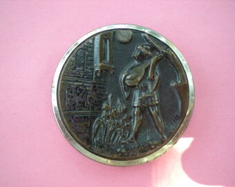 19th Century Blondel Minstrel to Richard I Large Brass Button