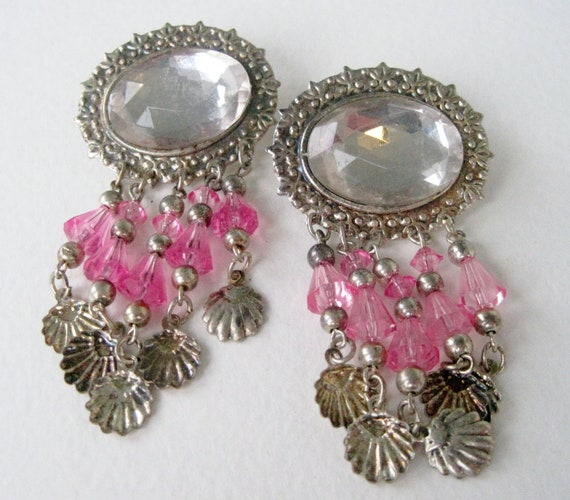 SALE 10 PERCENT Off Vintage Silver Tone Clear Cabochon Pink Clamshell Shell Plastic Beaded LARGE Chandelier Pierced Dangle Earrings