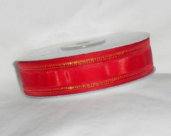 """Red with Gold Ribbon...7/8"""" X 25 yards spool"""
