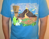Scooter, Tiki, Volcano on Canvas brand Unisex Aqua T-shirt Size Large