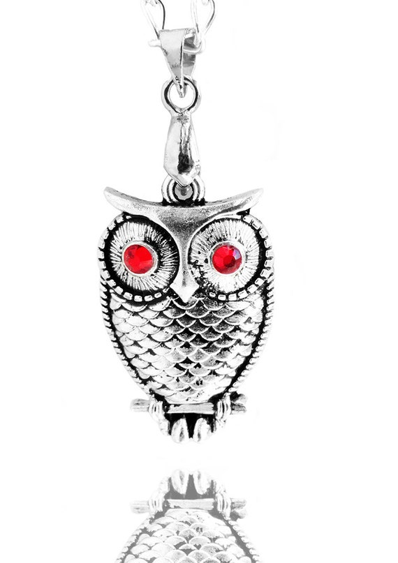 Happy Mother's Day Gift - For Her - Swarovski Ruby Red Crystal Silver Owl Charm Pendant Necklace (Get 12% OFF)