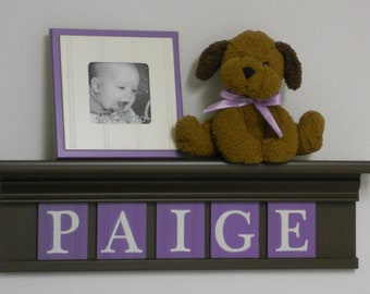 Lavender Purple Nursery | Decor Wall Shelf Personalized | Chocolate Brown Shelf  | Wood Letters in Lilac | Nursery Custom Decor