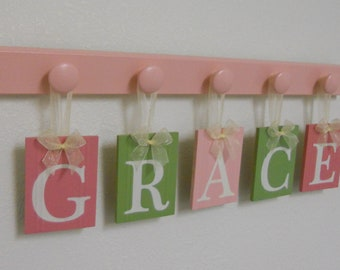 Wall Name Letters, Nursery Blocks, Pink Green Nursery Decor, Personalized Baby Gifts - GRACE with 5 Name Blocks Custom Baby Girl Name Gifts
