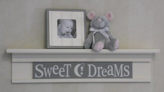 "Sweet Dreams - Sign on 30"" Linen White Shelf  - Gray Wall Sign - Moon and Star Nursery Wall Art"