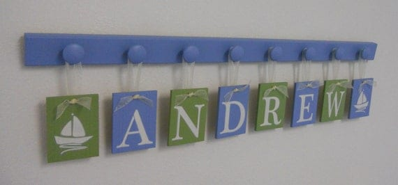 Sailboat Art Nursery Decor includes Baby Name Hanging Wall Letters Sail Boats and 8 Wooden Peg Hanger - Light Blue and Green - ANDREW