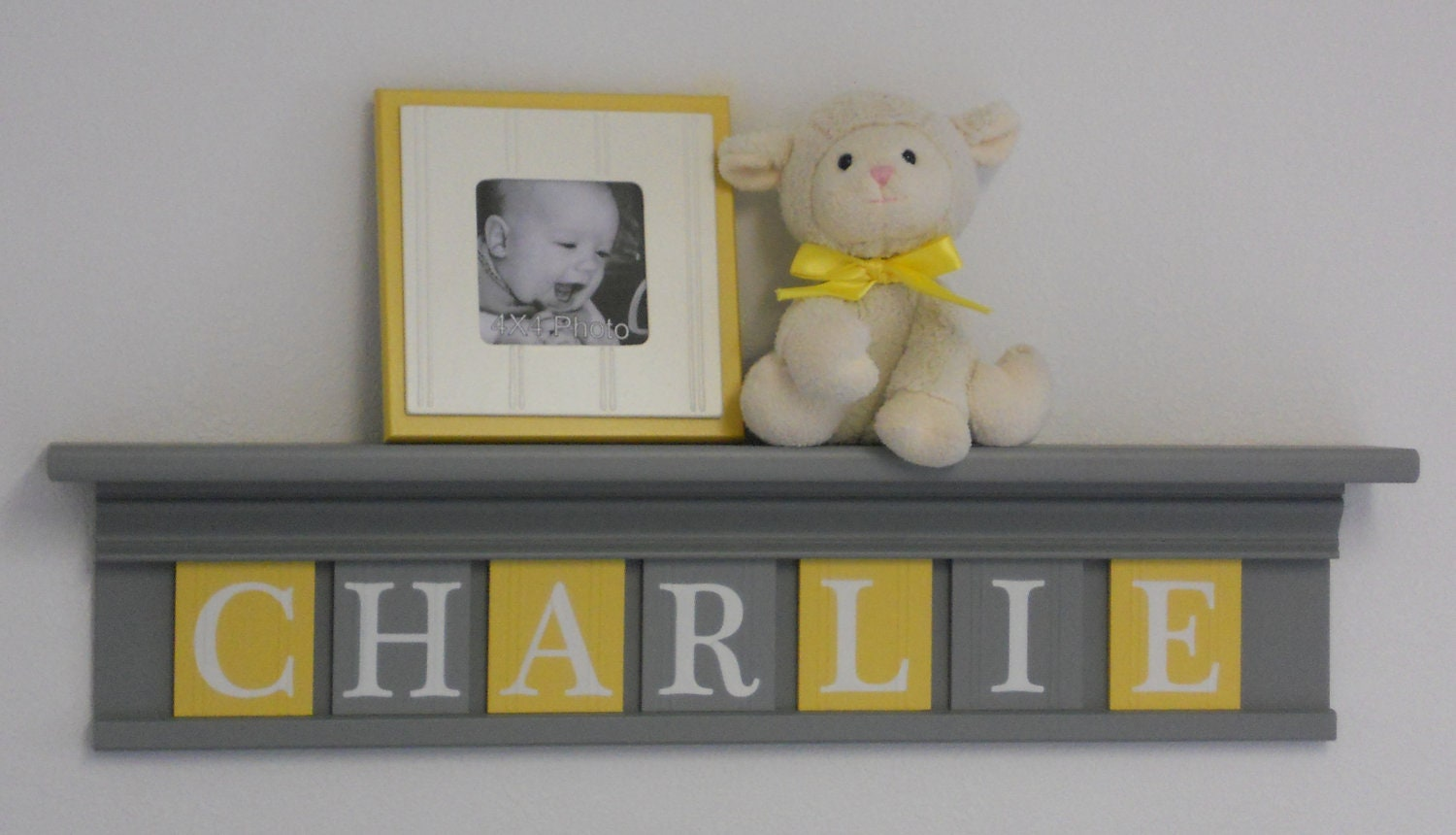 Yellow Gray Nursery Wall Art Grey Yellow Baby By NelsonsGifts