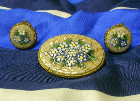 Vintage Micro Mosaic Millefiori Brooch & Clip On Earrings Set - Wild Flowers