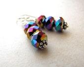 Crystal Earrings, Rainbow Earrings, Modern, Graphic, Dangle Earrings, Rainbow Crystal