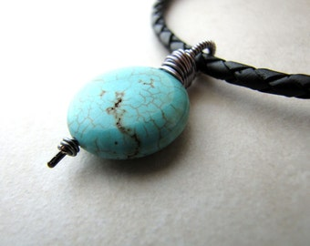 Men's Necklace, Turquoise Necklace, Howlite Necklace, Leather Necklace, Turquoise Gemstone, Howlite Gemstone, Gemstone Necklace