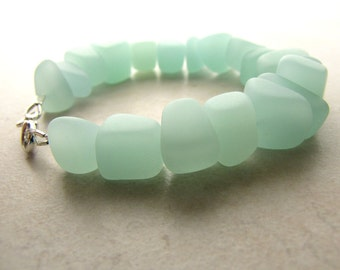 Seaglass Sea Glass Bracelet Mint Green Sea Foam BellinaCreations Bellina Creation