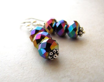 Crystal Earrings Rainbow Sterling Silver Wire Wrapped Dangle Earrings BellinaCreations Bellina Creation