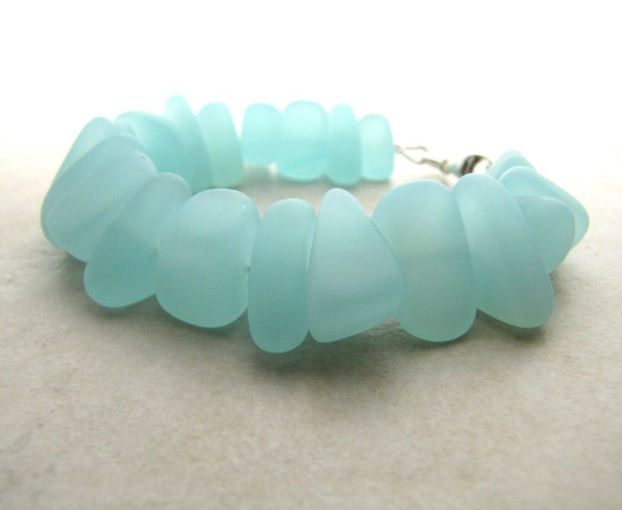 Seaglass Sea Glass Bracelet Aqua Size 7 Item A7 BellinaCreations Bellina Creation