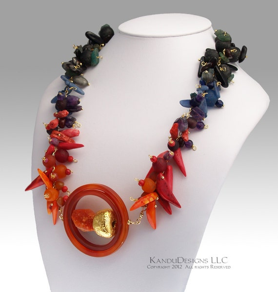 Solar Flare Necklace Ombre, Red Orange Greens Blue, Recycled African Glass, Coral, Kyanite, Gold Fill , Gemstone