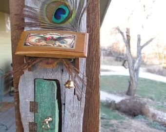 Green Peacock Fairy Door, Opening, Wood, Magic Portal, Fae, Faerie, Elf, Leprechaun, Magick, Covered