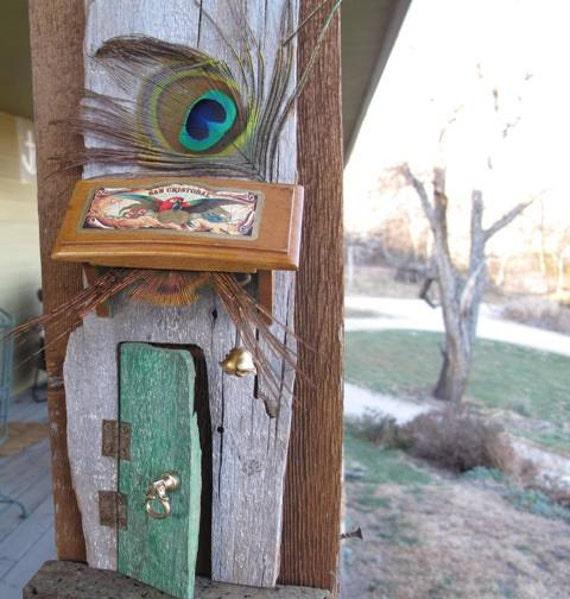 Green peacock fairy door opening wood magic by for Wooden fairy doors that open